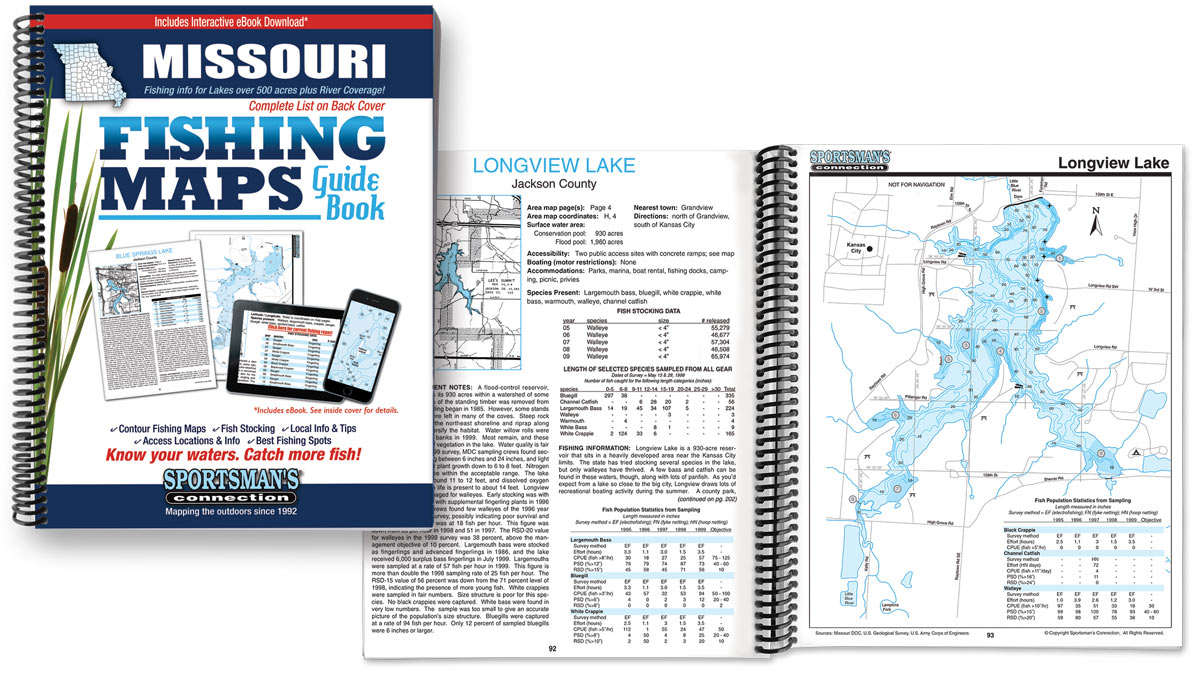 Missouri Fishing Map Guide Book